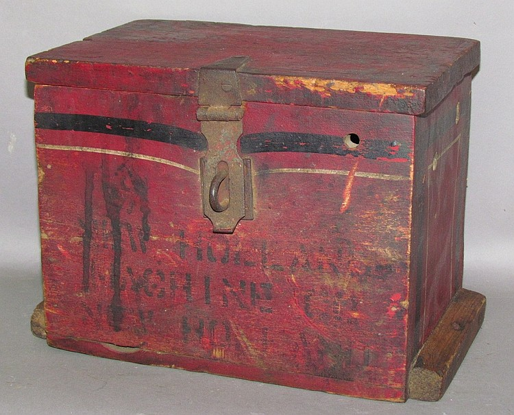 Painted New Holland Machine wooden tool box