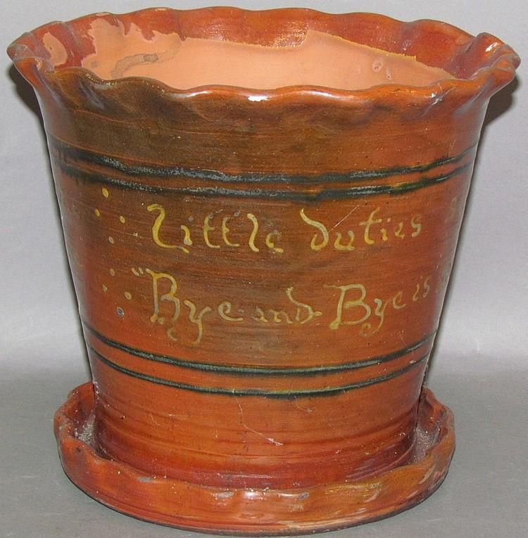 Greg Shooner slipware inscripted redware planter