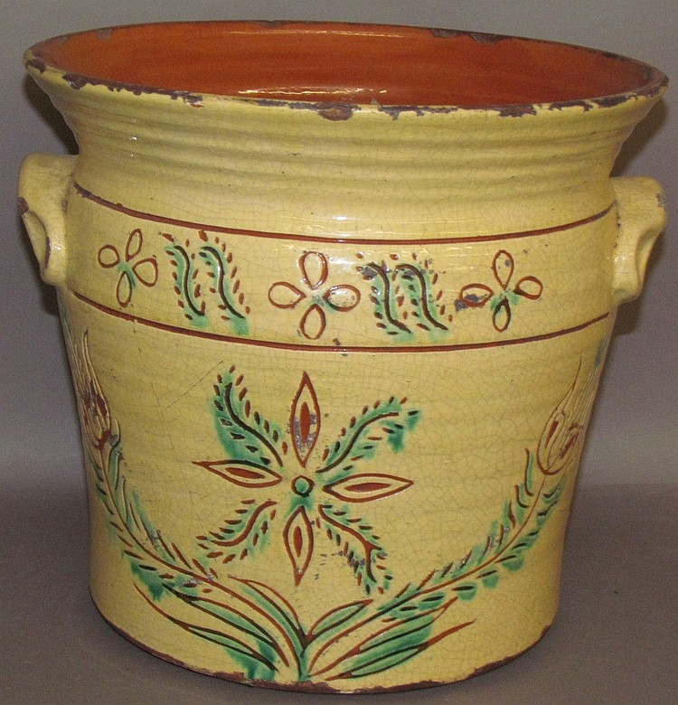 Lot 16: Sgraffito decorated redware jardinier