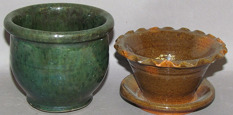2 Isaac Stahl redware items