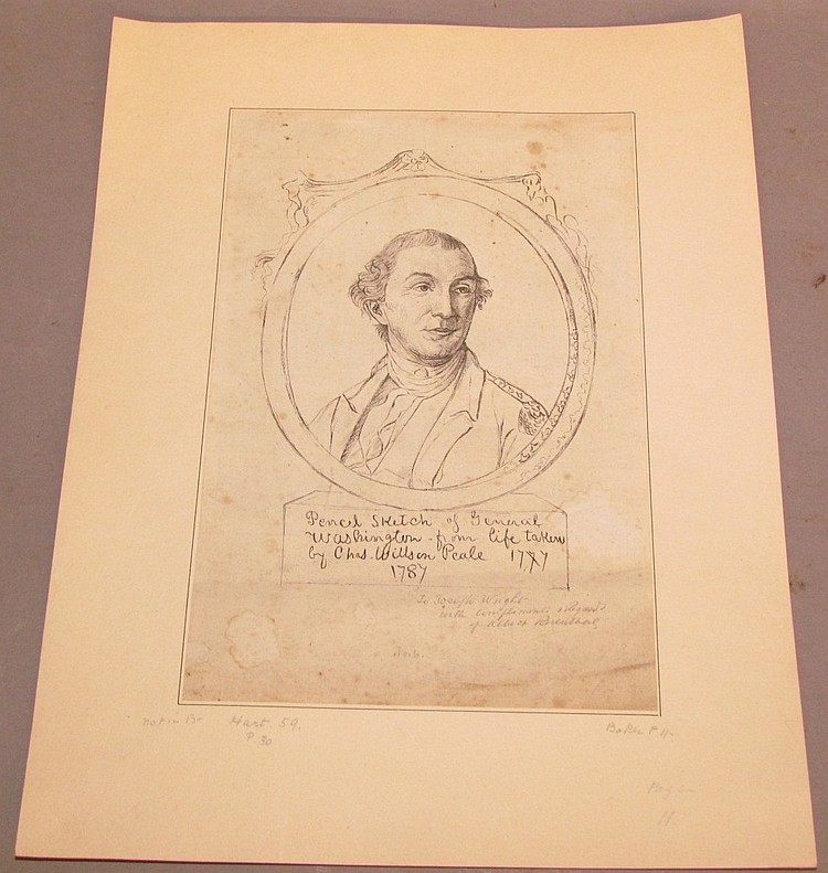 Early engraving of sketch by Charles Wilson Peale of Gen. Washington