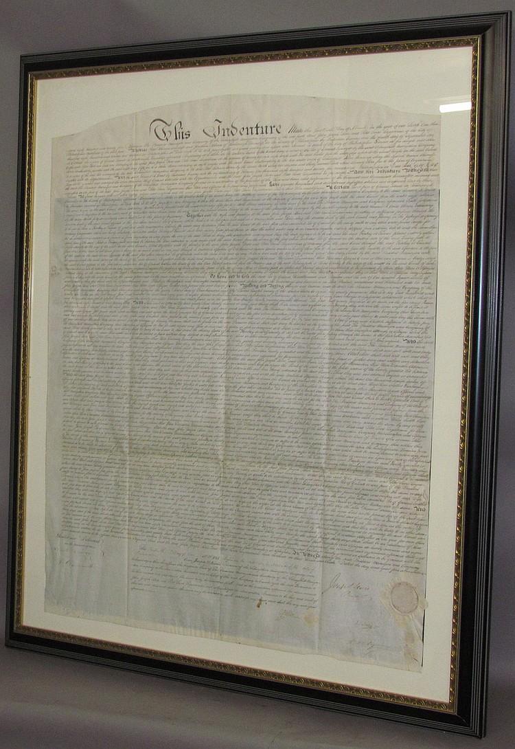 Lot 150: Framed Schuylkill Navigation Co. indenture
