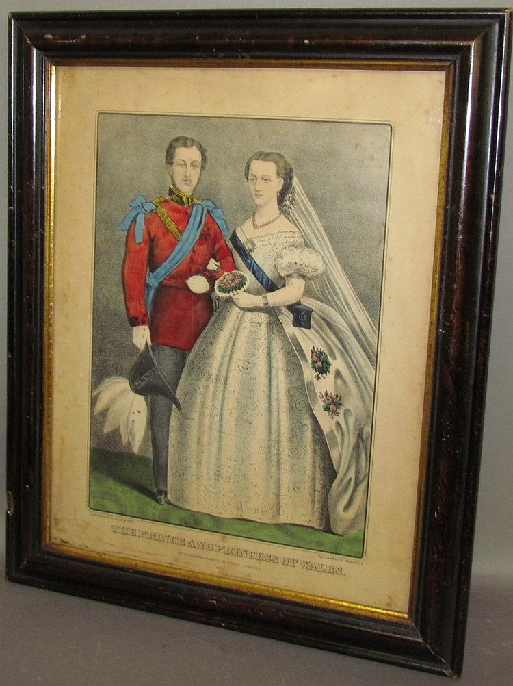 "Framed Currier & Ives print ""The Prince & Princess of Wales"""