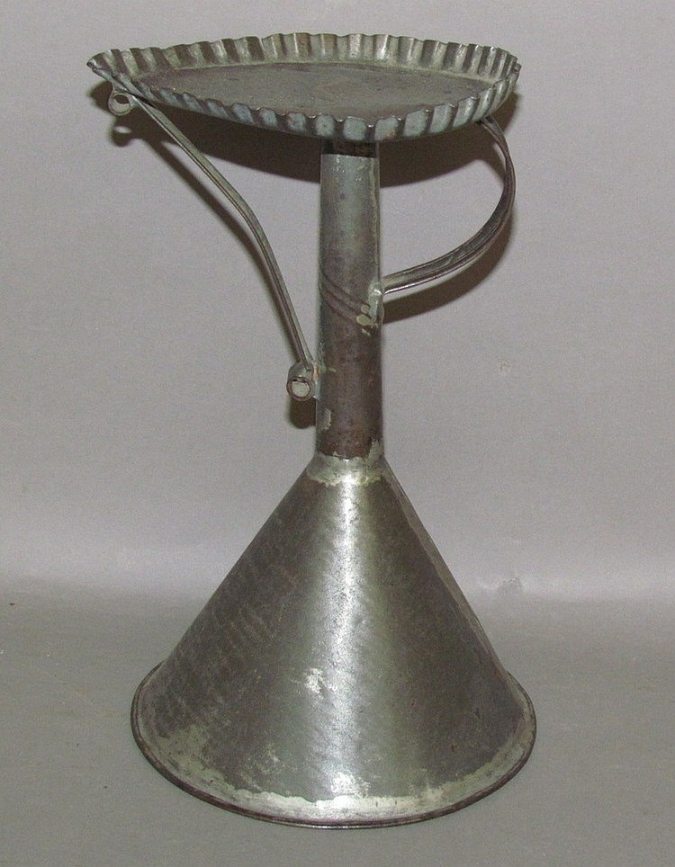"Tin weighted base ""Betty"" lamp stand"
