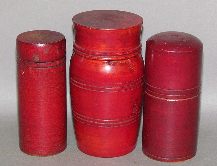 3 red stained treenware containers