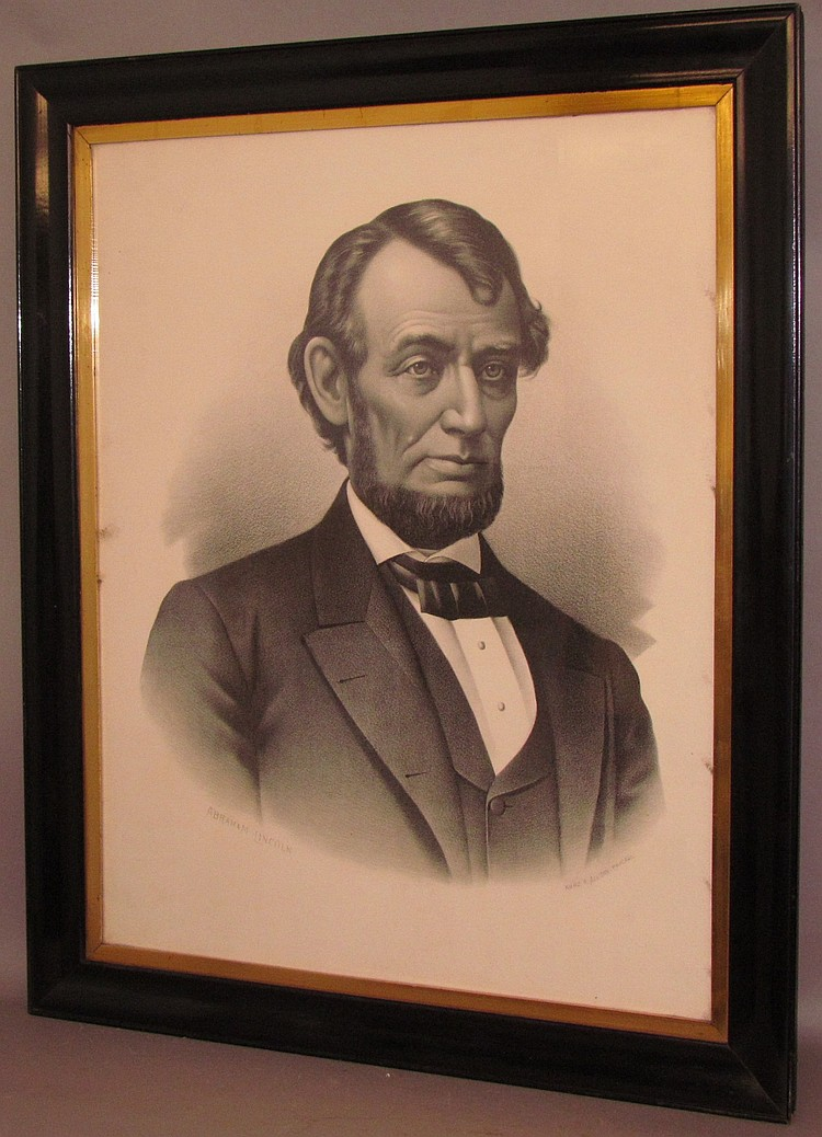 Framed Lincoln print lithograph