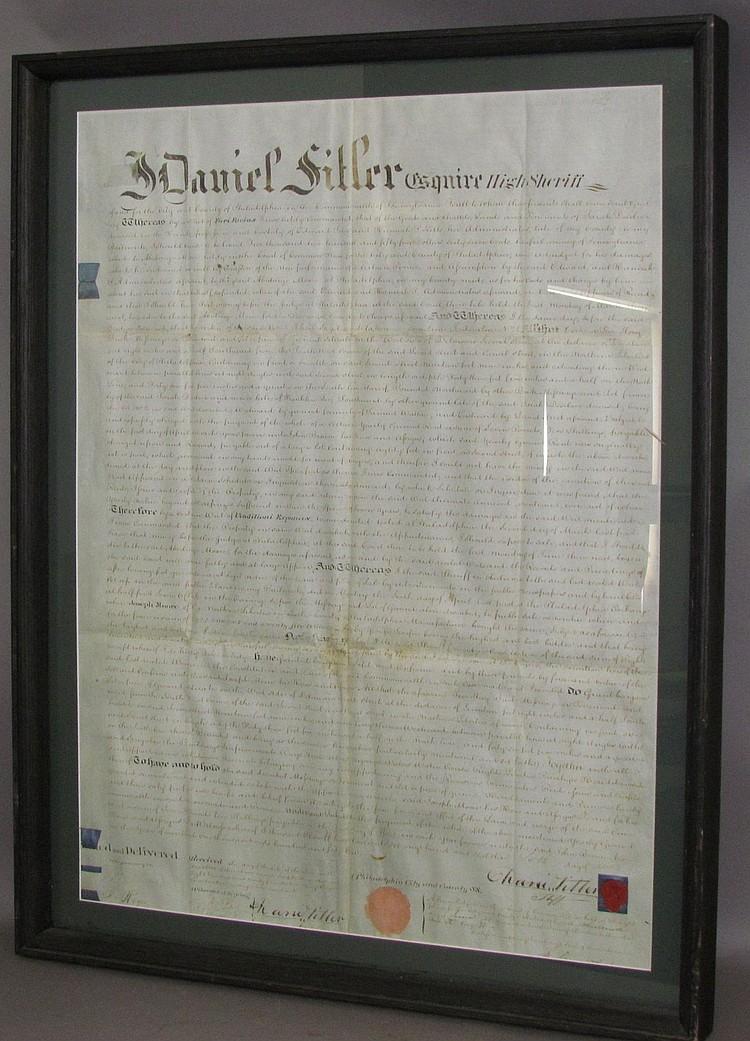 Lot 144: Large encased framed deed poll
