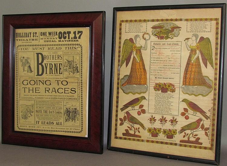 Lot 143: 2 framed broadsides