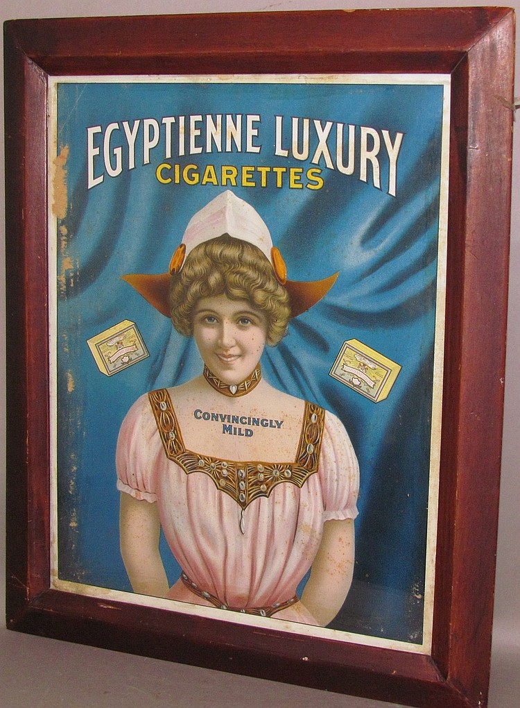 Framed early colorized lithograph advertisement for Egyptian Luxury Cigarettes