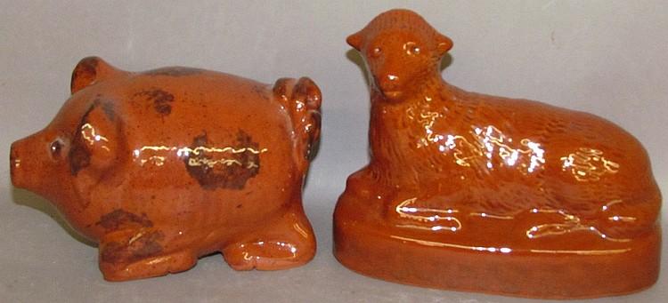2 Foltz redware animals