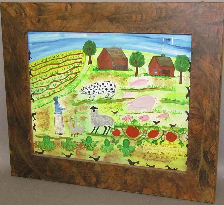 Framed Barbara Strawser watercolor