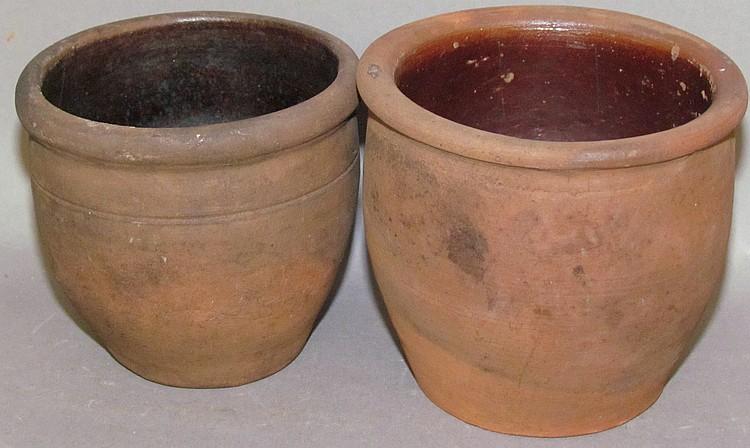 Lot 122: 2 small redware crocks
