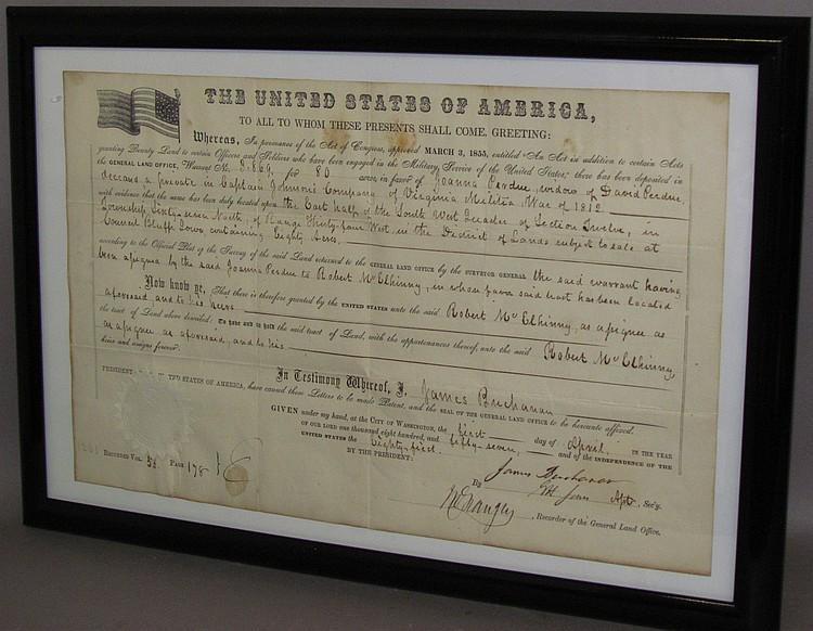 Lot 145: Framed signed President James Buchanan land grant