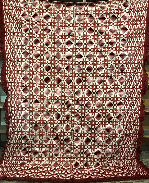 Red & white overshot weave coverlet