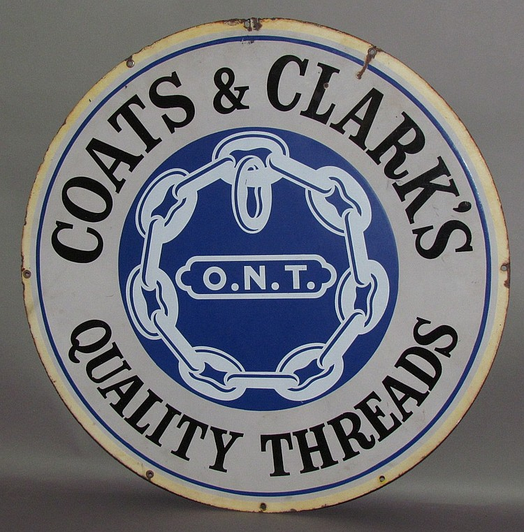 Round porcelain trade sign for Coat's & Clark's Quality Threads