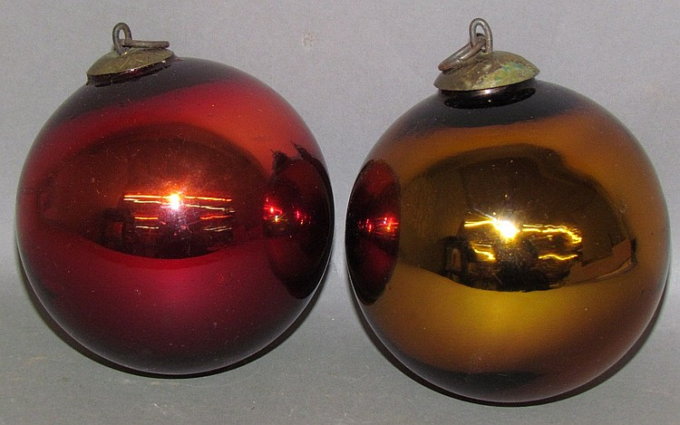 2 kugel style Christmas ornaments