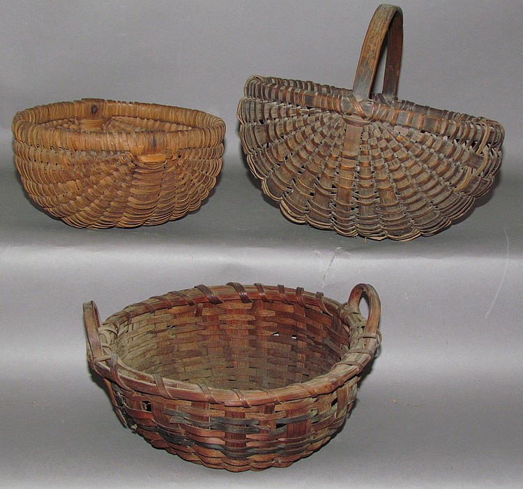 3 oak splint baskets