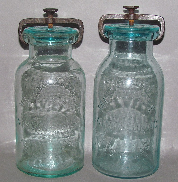 2 aquamarine glass 1 quart Millville Atmospheric Fruit Jars
