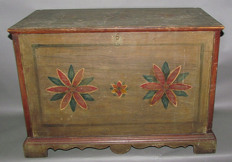 Pinwheel paint decorated cabinet maker's tool chest
