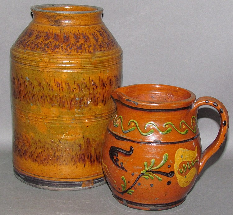 2 pieces of Shooner redware