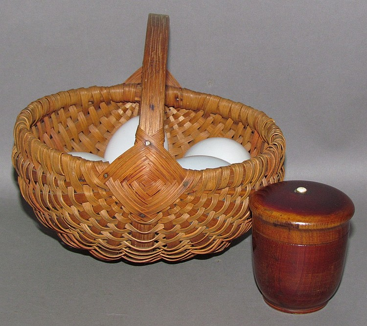 Small orschbok egg basket with glass eggs & treenware box