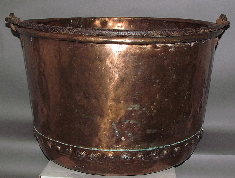 Large copper apple butter kettle