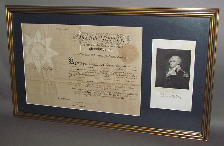 Framed appointment certificate of Clement Biddle by PA Gov. Thomas Mifflin