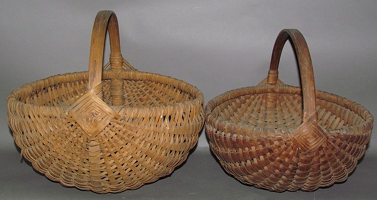 2 oak splint handled melon shaped baskets