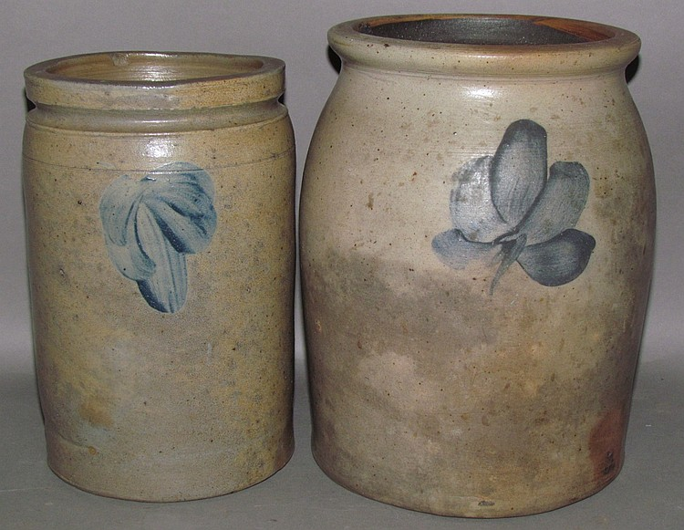 2 cobalt decorated stoneware jars