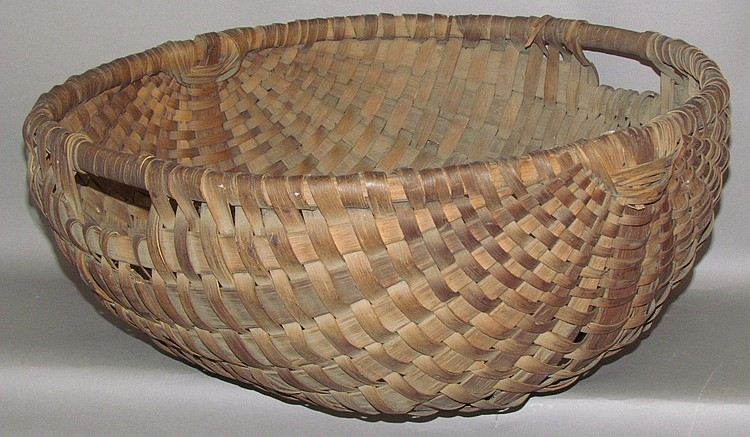 Huge ash splint melon shaped chaff basket