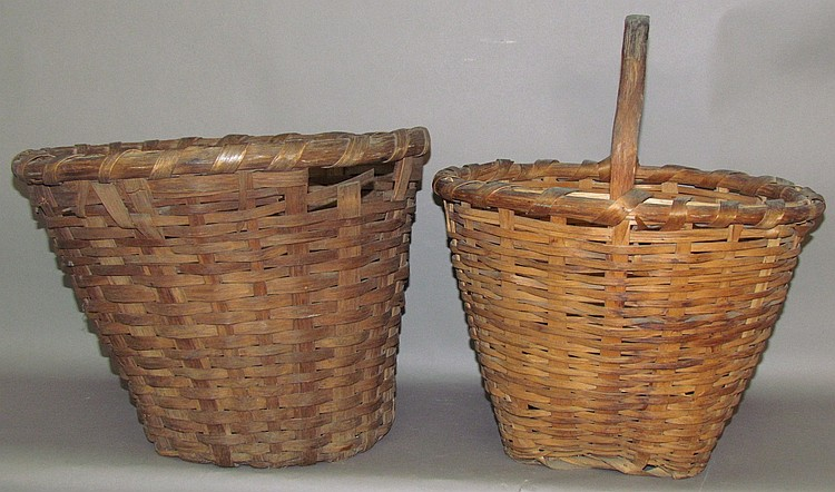 2 heavy ash splint gathering baskets