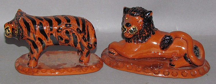 2 folk art redware Breininger Pottery animals