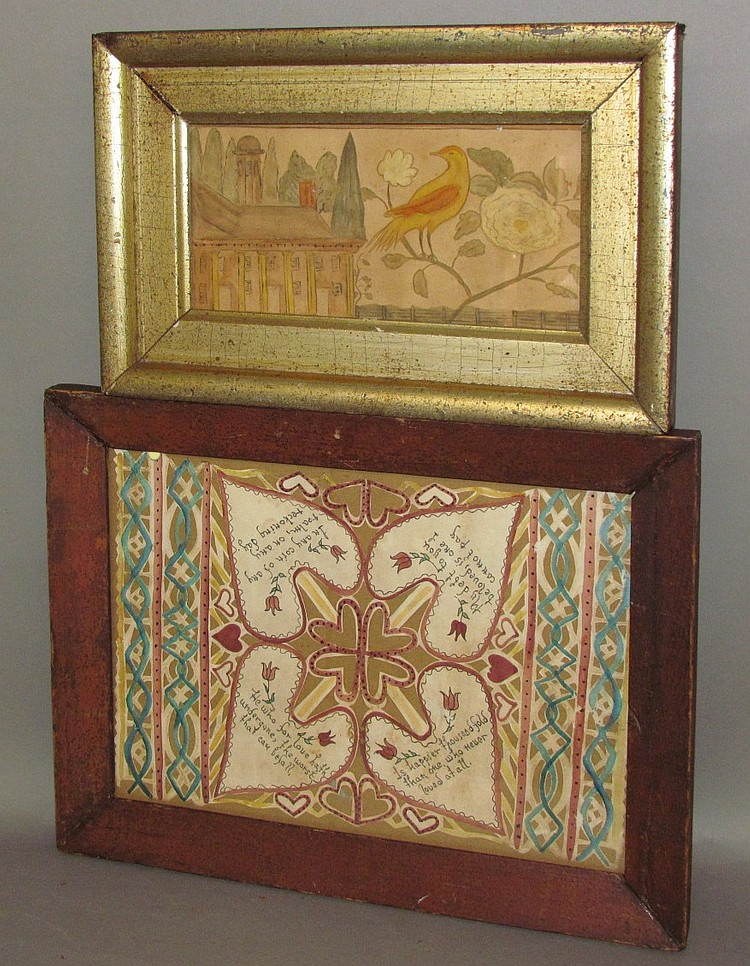 2 framed folk art watercolors