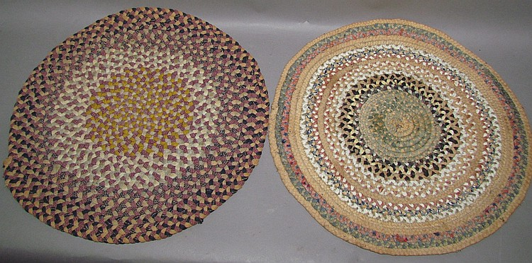 2 fine braided round chair mats