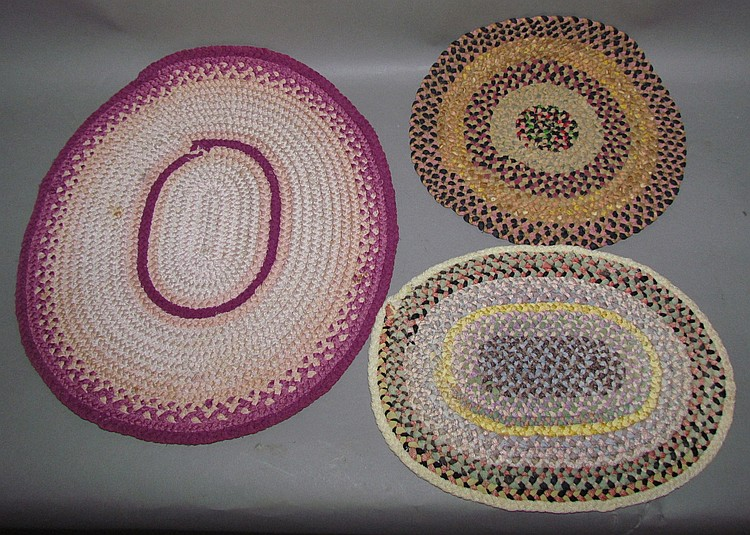 3 small braided mats