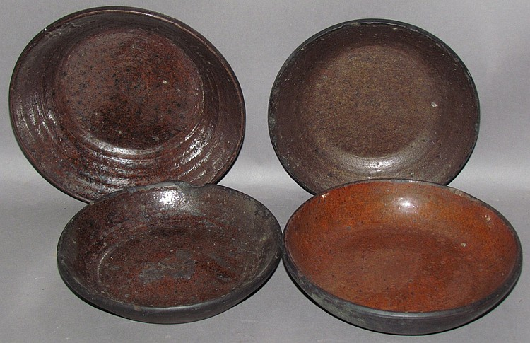 4 PA redware pie dishes