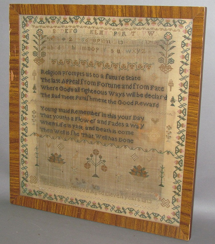 Framed Elizabeth Johnson sampler