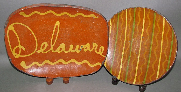 2 Shooner redware pieces