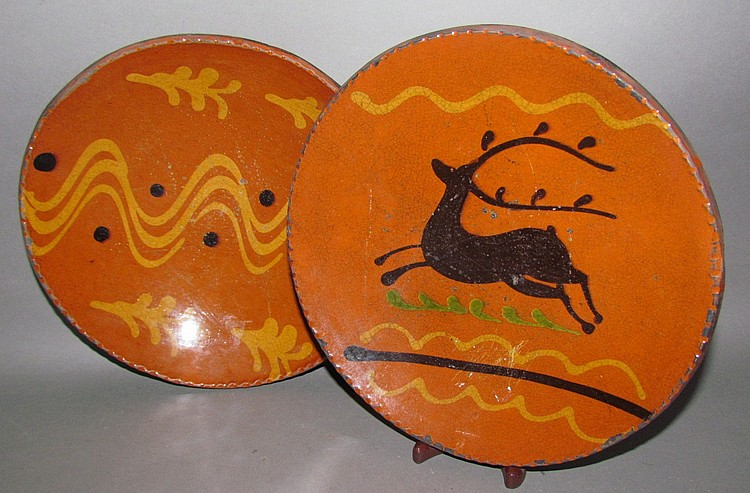 2 Shooner slipware pie plates