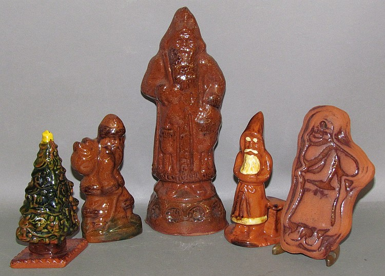 5 redware Christmas items