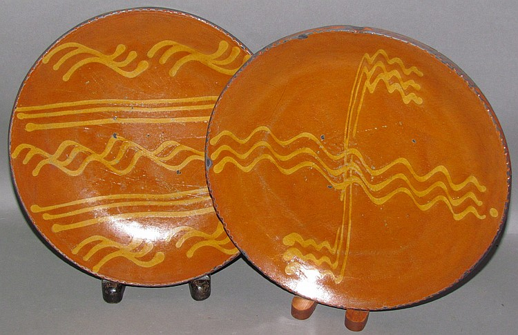 2 Shooner slip decorated plates