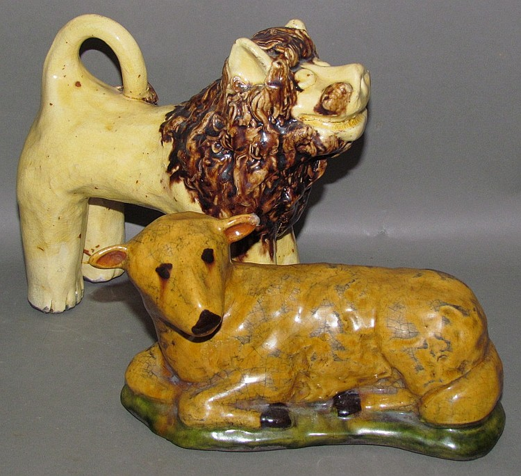 2 redware animal figures