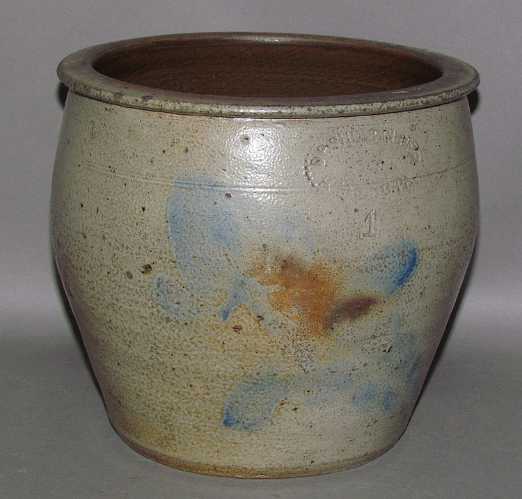 1 gallon cobalt decorated Shenfelder cream crock