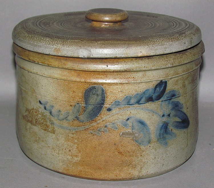 Cobalt decorated Shenfelder butter crock with lid