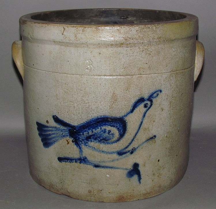 3 gallon cobalt bird decorated crock