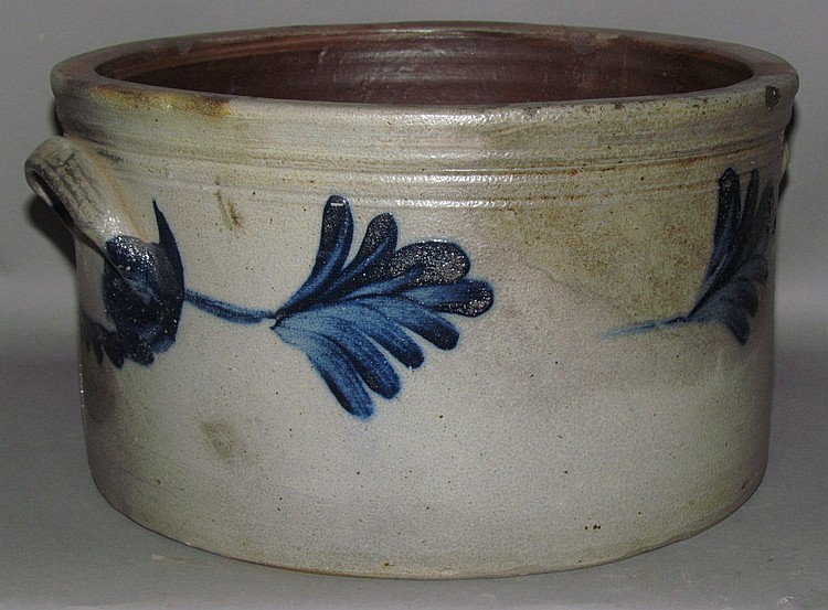 Cobalt decorated stoneware butter crock