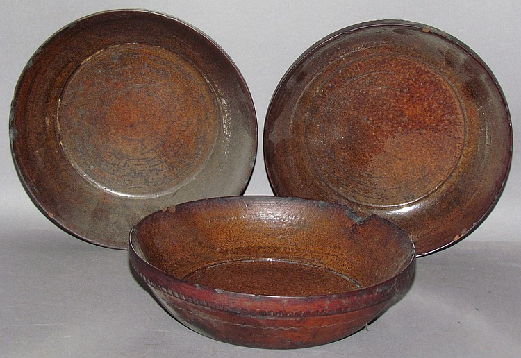 3 Stahl type redware turned pie plates