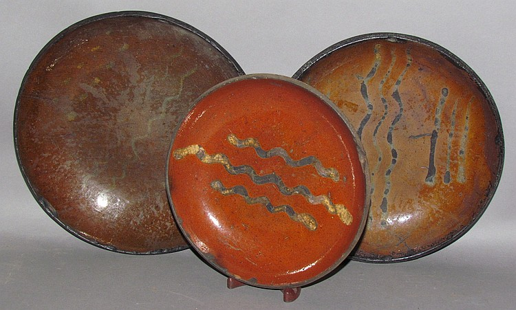 3 Willoughby Smith type slipware pie plates