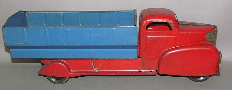Unmarked pressed metal toy dump truck