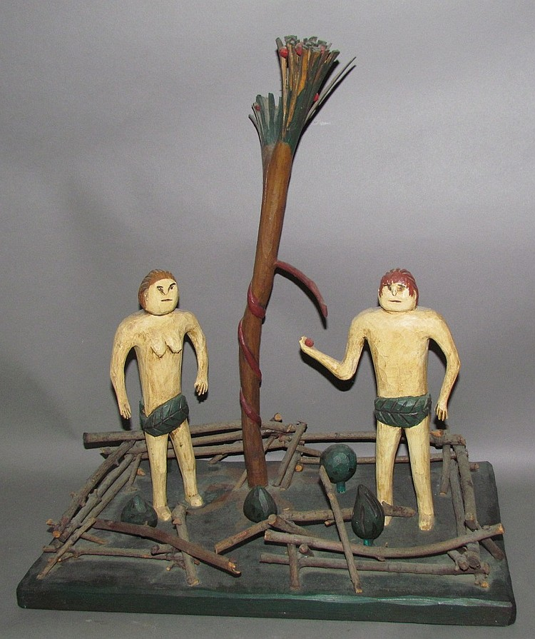 "Strawser folk art carved ""Adam & Eve"""